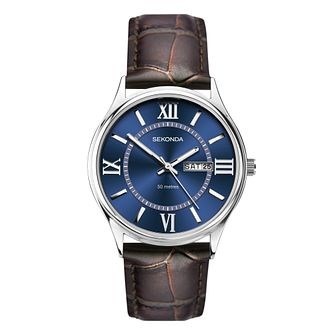 Sekonda Men's Brown Leather Strap Watch - Product number 5016134