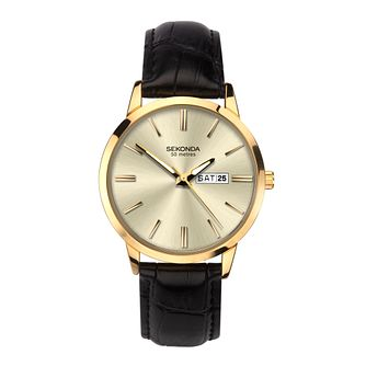 Sekonda Men's Black Leather Strap Watch - Product number 5016169
