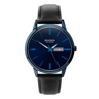 Sekonda Men's Black Leather Strap Watch - Product number 5016215