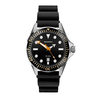 Sekonda Men's Black Rubber Strap Watch - Product number 5016258