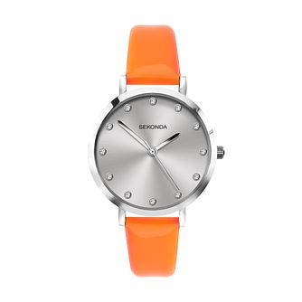 Sekonda Crystal Ladies' Orange PU Strap Watch - Product number 5016266