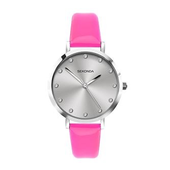 Sekonda Crystal Ladies' Pink PU Strap Watch - Product number 5016274