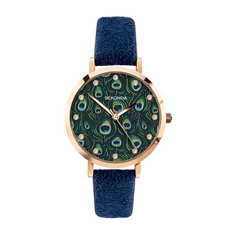 Sekonda Crystal Ladies' Blue PU Strap Watch - Product number 5016290