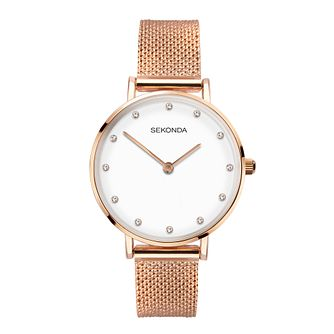 Sekonda Crystal Ladies' Rose Gold Tone Mesh Bracelet Watch - Product number 5016347