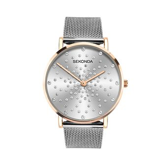 Sekonda Crystal Ladies' Stainless Steel Mesh Bracelet Watch - Product number 5016355