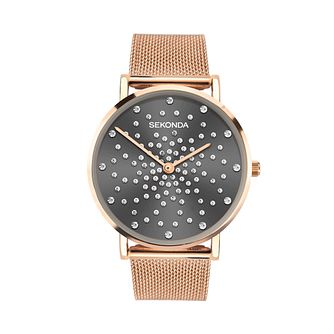Sekonda Crystal Ladies' Rose Gold Tone Mesh Bracelet Watch - Product number 5016363
