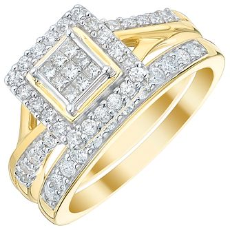 Perfect Fit 9ct Gold 2/3ct Princess Cut Diamond Bridal Set - Product number 5021626