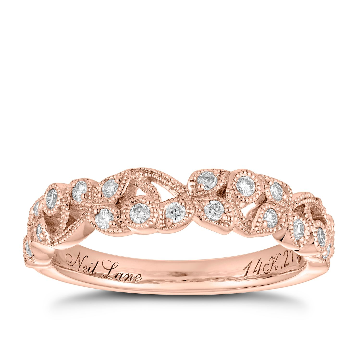 Neil Lane 14ct Rose Gold 0.21ct Diamond Vine Wedding Band - Product number 5025591