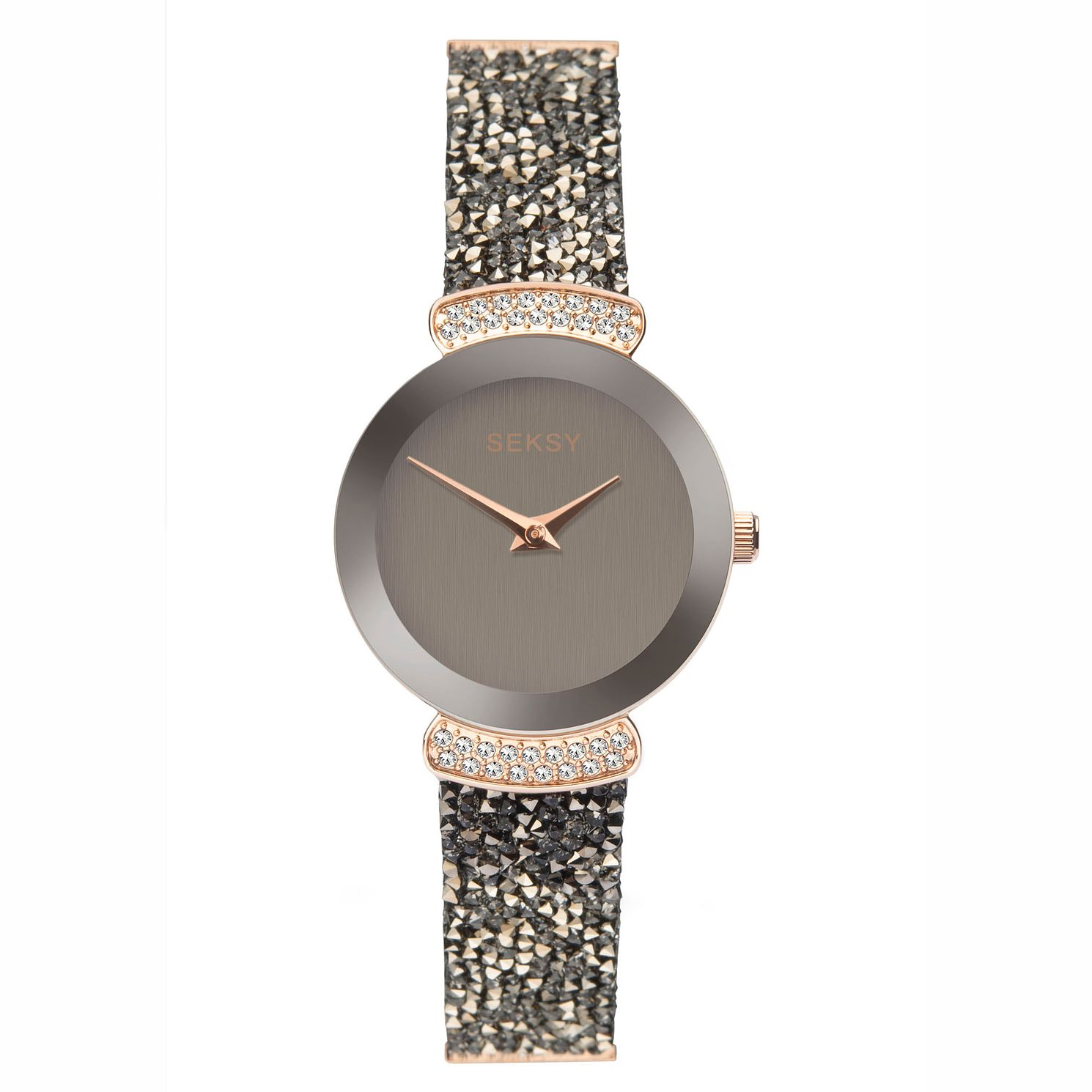 Seksy Rocks Ladies' Rose Gold And Black Leather Strap Watch - Product number 5028094