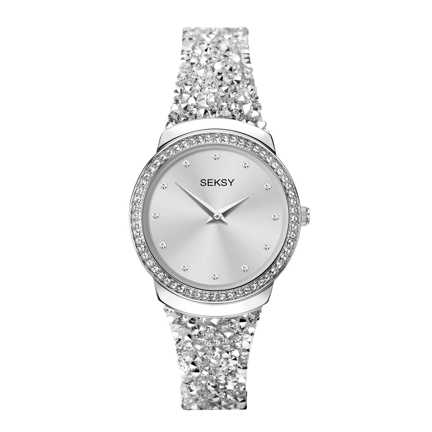 Seksy Rocks® White Swarovski® Stone-Set Strap Watch - Product number 5028108