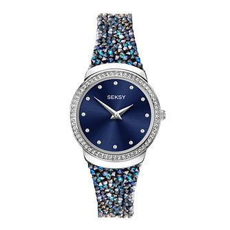 Seksy Rocks® Blue Swarovski® Stone-Set Strap Watch - Product number 5028116