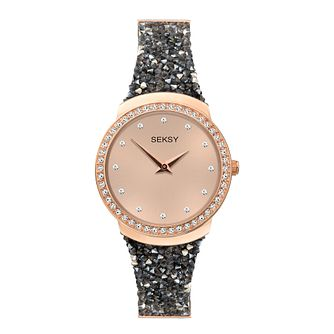 Seksy Rocks Black Swarovski Stone-Set Strap Watch - Product number 5028132