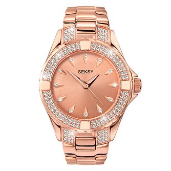 Seksy Crystal Ladies' Rose Gold Tone Bracelet Watch - Product number 5028345