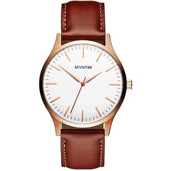 MVMT 40 Series Men's Brown Padded Leather Strap Watch - Product number 5028566