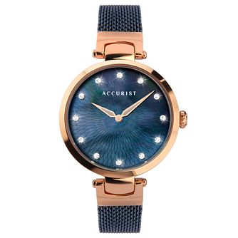 Accurist Crystal Blue IP Mesh Bracelet Watch - Product number 5029953