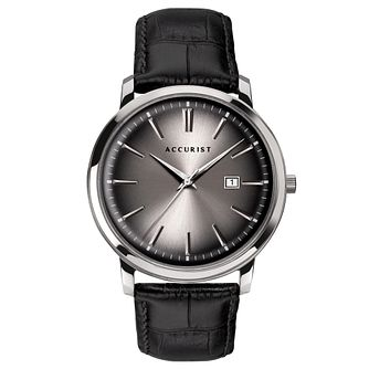 Accurist Black Leather Strap Watch - Product number 5030080