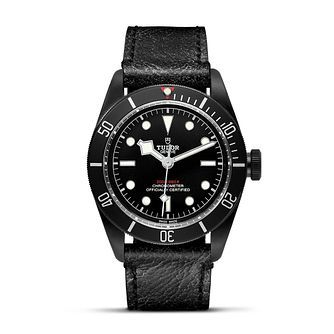 Tudor Black Bay Dark Men's Black Leather Strap Watch - Product number 5031060