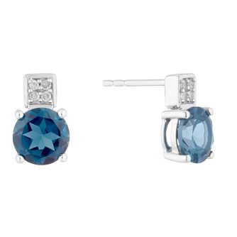 9ct White Gold Blue Topaz Stud Earrings - Product number 5032113