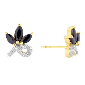 9ct Yellow Gold Blue Sapphire Half Flower Stud Earrings - Product number 5032121