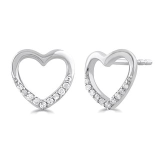 9ct White Gold Diamond Heart Stud Earrings - Product number 5032164