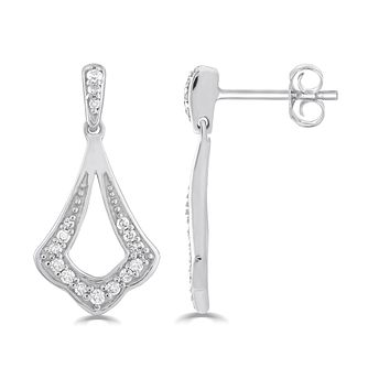 Silver 0.16ct Diamond Fan Stud Earrings - Product number 5032199