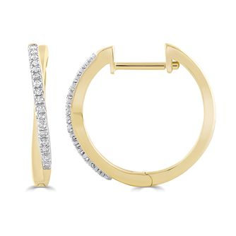 9ct Yellow Gold 0.10ct Diamond Crossover Hoop Earrings - Product number 5032210