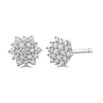 9ct White Gold 1/10ct Diamond Flower Stud Earrings - Product number 5032229