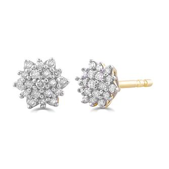 9ct Yellow Gold 1/10ct Diamond Flower Stud Earrings - Product number 5032237