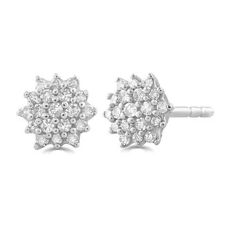 9ct White Gold 0.15ct Diamond Flower Stud Earrings - Product number 5032245
