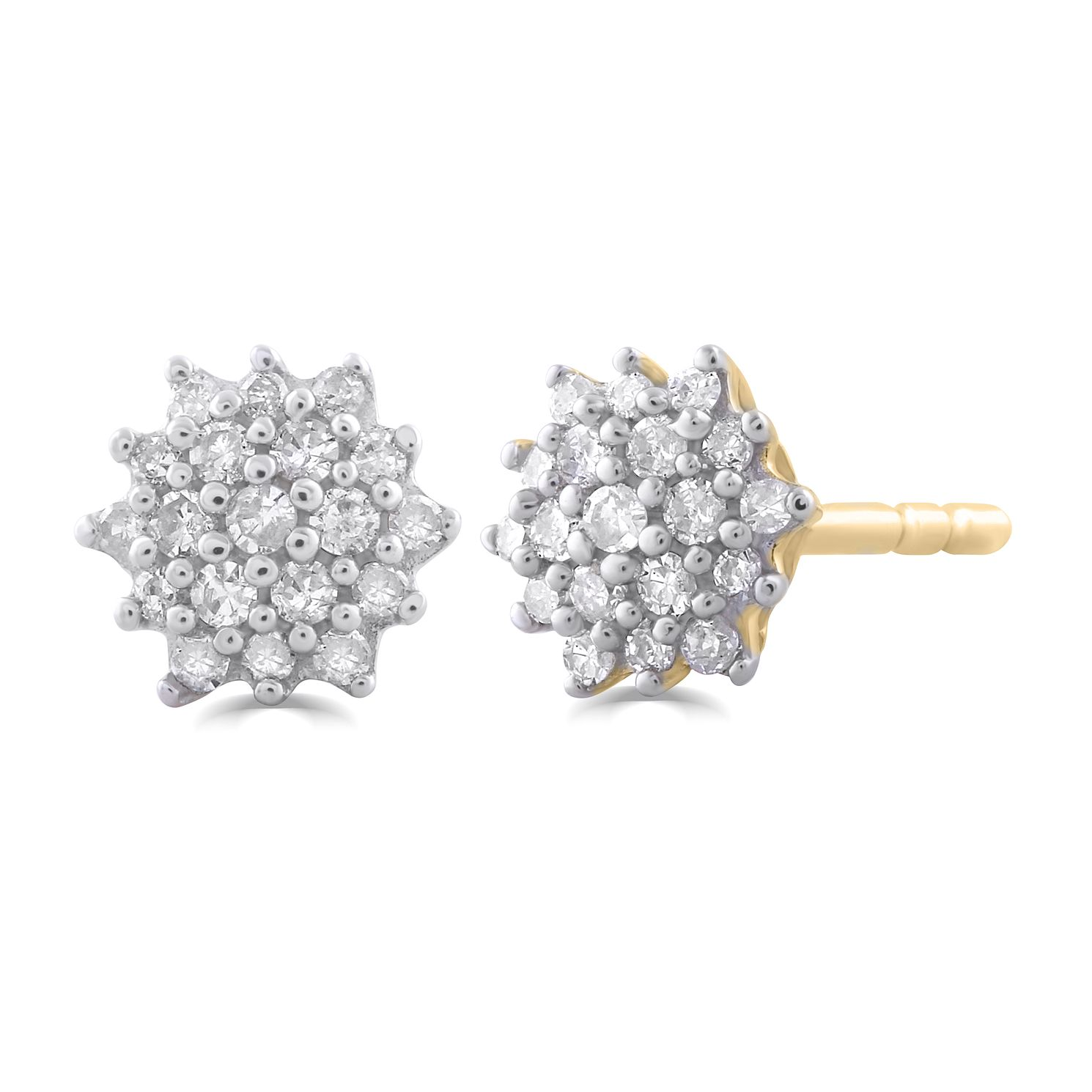 9ct Yellow Gold 0.15ct Diamond Flower Stud Earrings - Product number 5032261