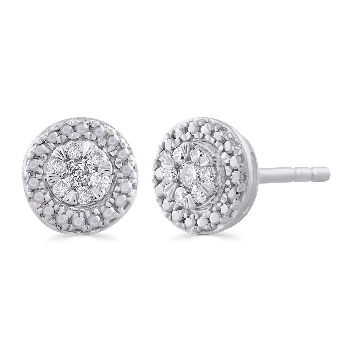 9ct White Gold 0.10ct Total Diamond Round Halo Stud Earrings - Product number 5032288