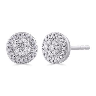 9ct White Gold 1/10ct Diamond Round Halo Stud Earrings - Product number 5032288
