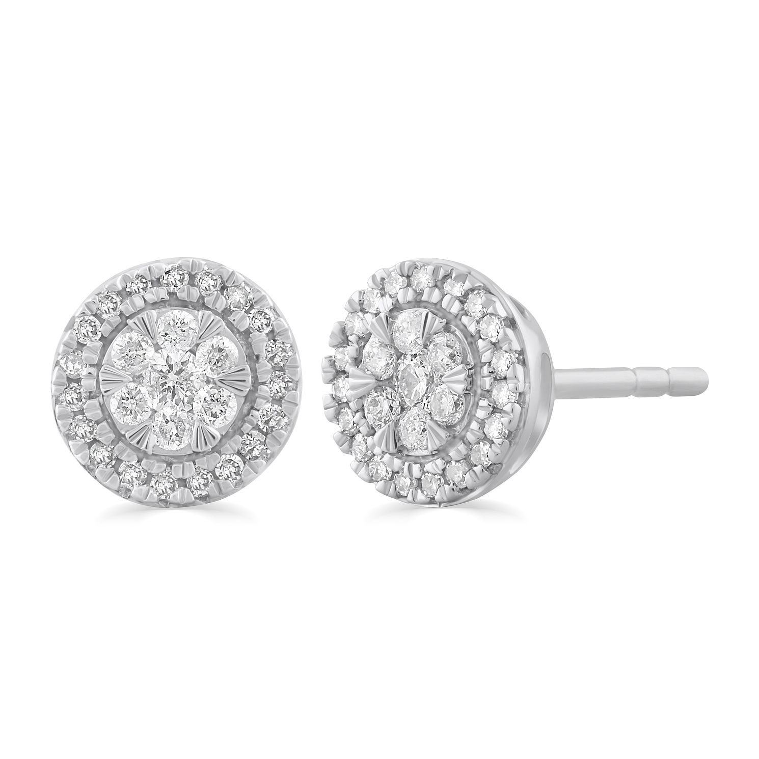 9ct White Gold 0.20ct Total Diamond Round Halo Stud Earrings - Product number 5032296