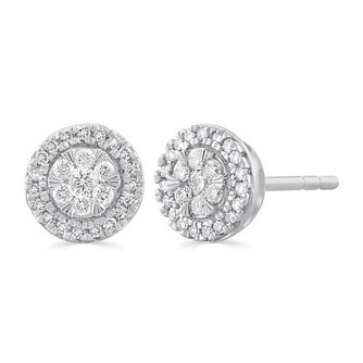 9ct White Gold 1/5ct Diamond Round Halo Stud Earrings - Product number 5032296