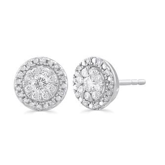 9ct White Gold 1/3ct Diamond Round Halo Stud Earrings - Product number 5032318