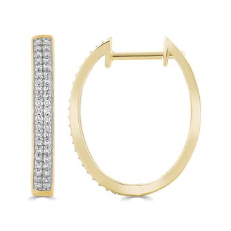 9ct Yellow Gold 0.25ct Diamond Double Row Hoop Earrings - Product number 5032326