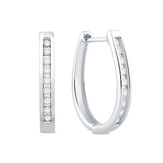 9ct White Gold 0.18ct Diamond Hoop Earrings - Product number 5032334