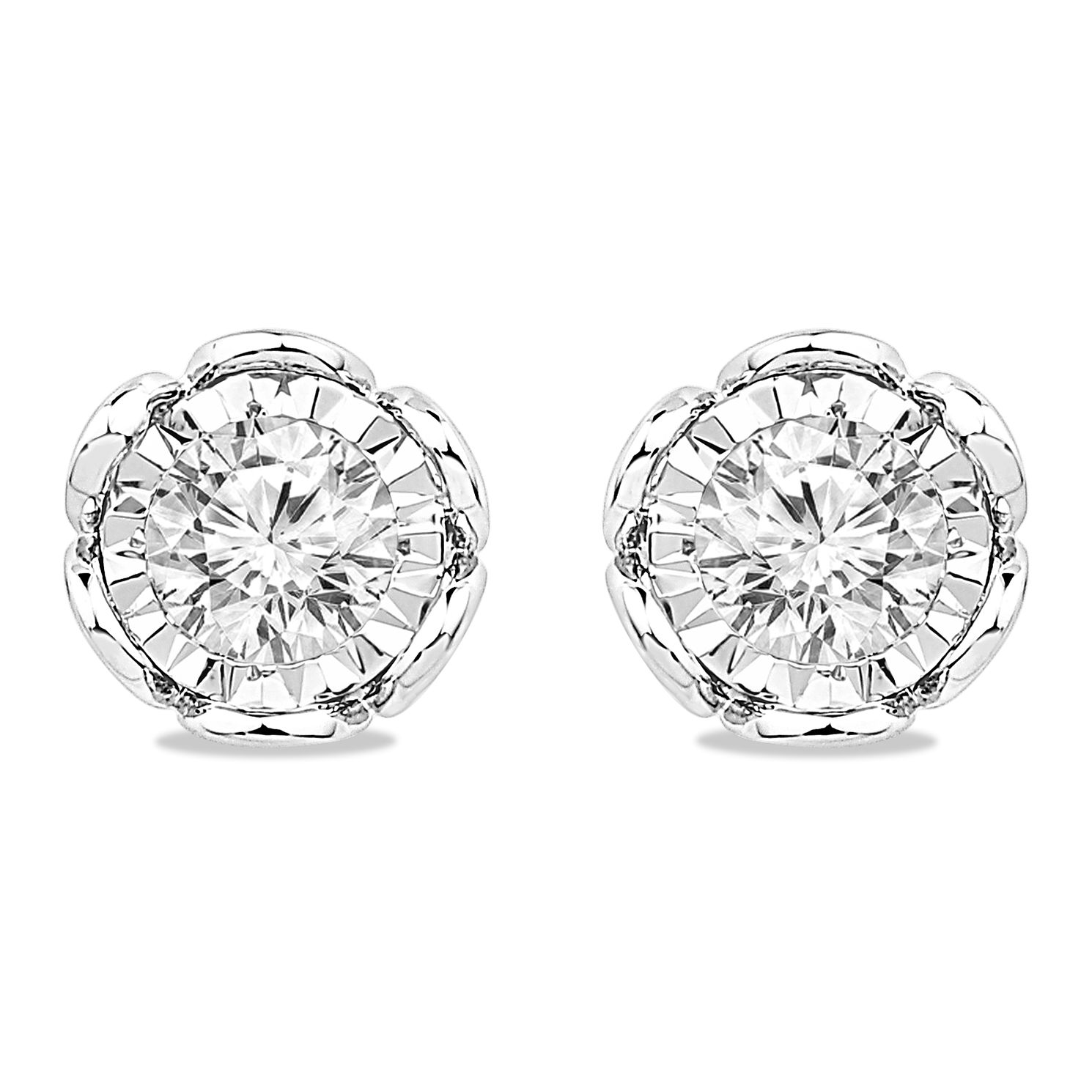 9ct White Gold 3/10ct Diamond Illusion Flower Stud Earrings - Product number 5032342