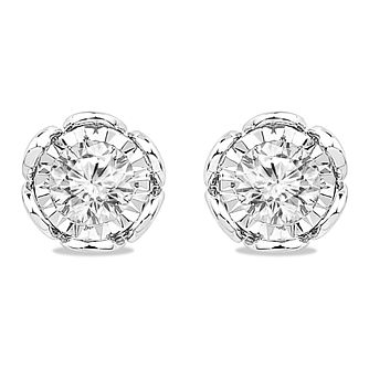 9ct White Gold 0.30ct Diamond Illusion Flower Stud Earrings - Product number 5032342
