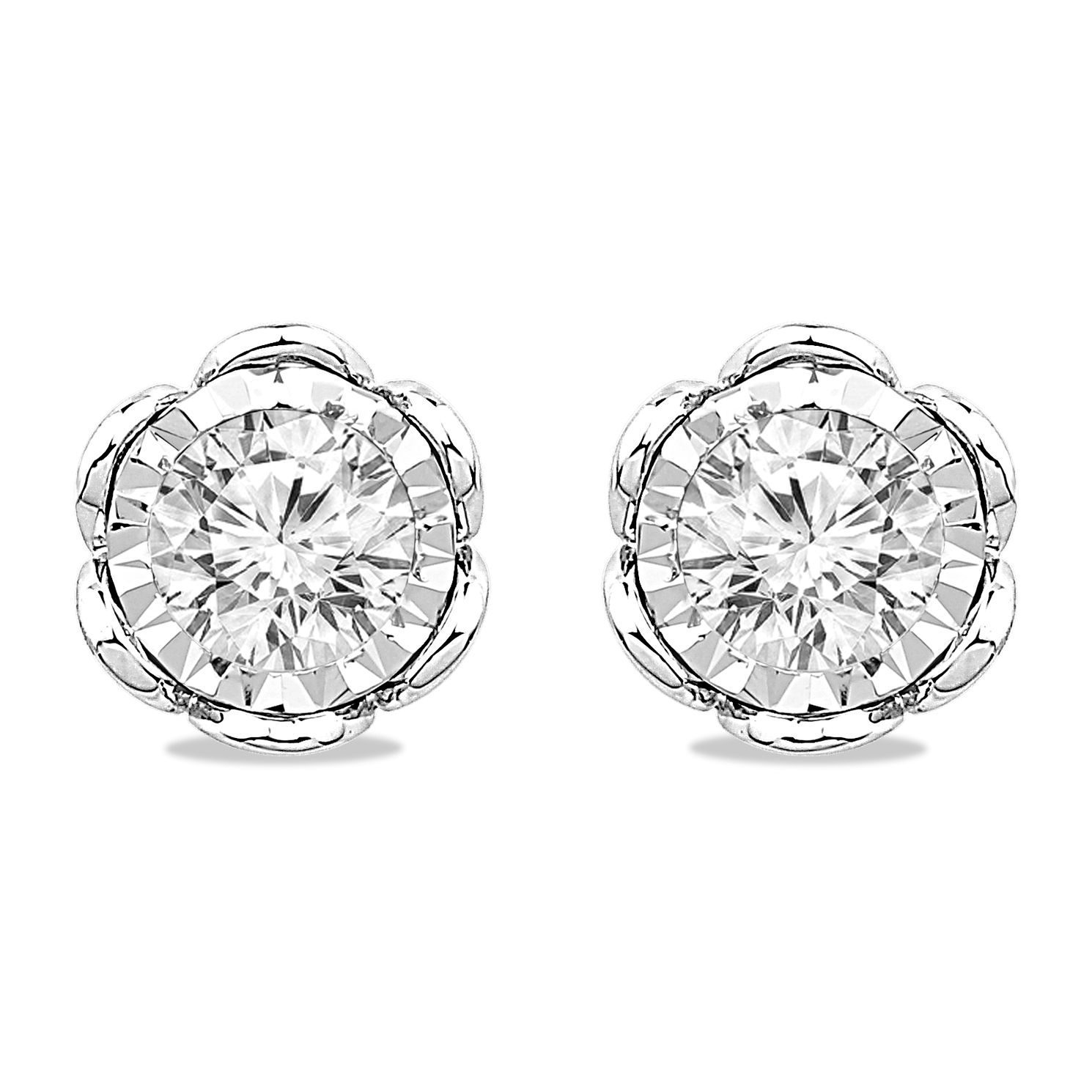9ct White Gold 2/5ct Diamond Illusion Flower Stud Earrings - Product number 5032377