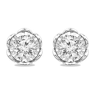 9ct White Gold 0.40ct Diamond Illusion Flower Stud Earrings - Product number 5032377