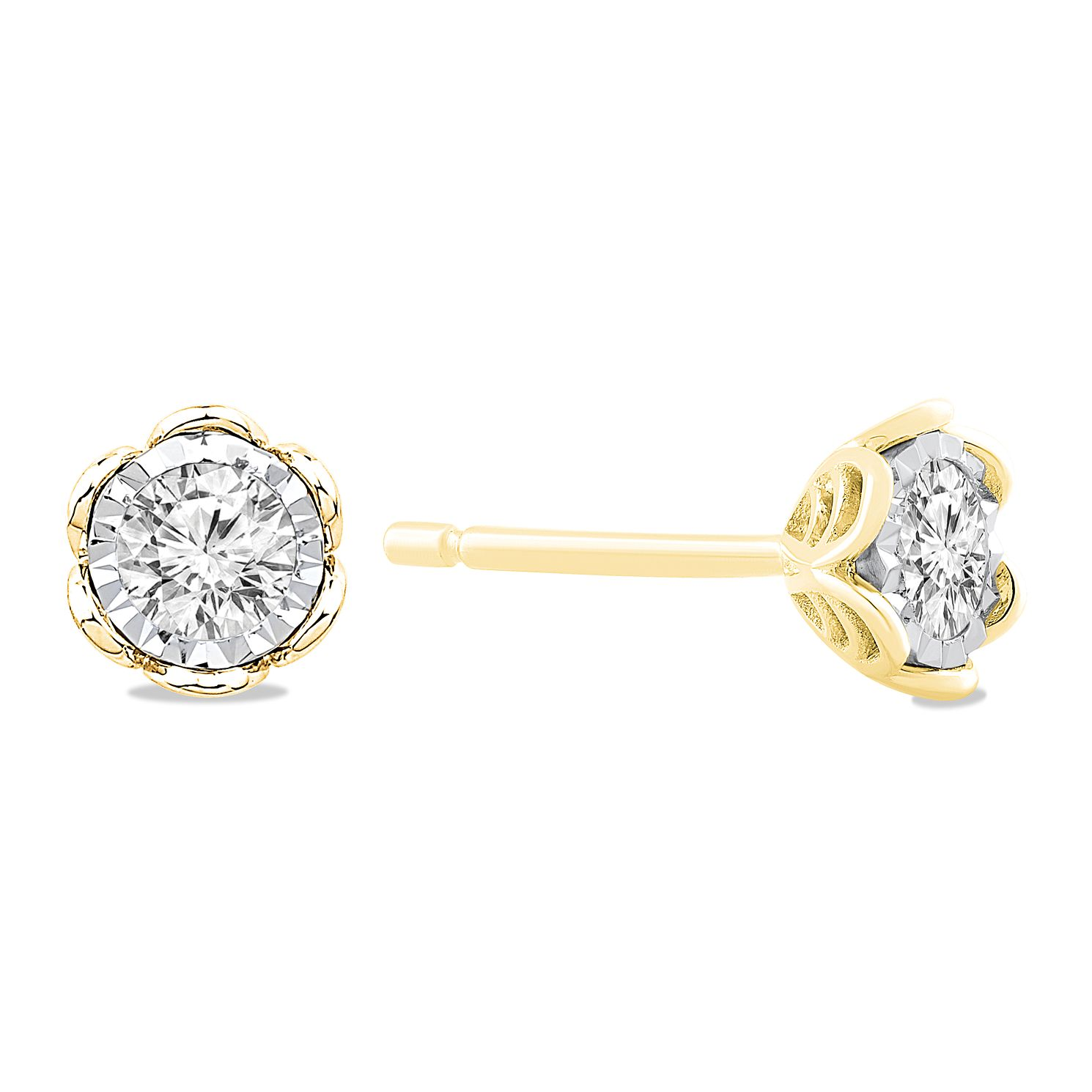 9ct Yellow Gold 2/5ct Diamond Illusion Flower Stud Earrings - Product number 5032547