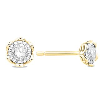 9ct Yellow Gold 0.20ct Diamond Illusion Flower Stud Earrings - Product number 5032636