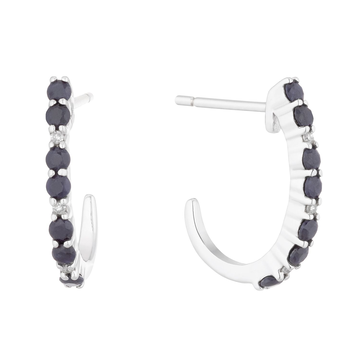 Silver & Sapphire Open Hoop Stud Earrings - Product number 5032644