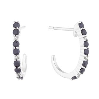 Sterling Silver Sapphire Open Hoop Stud Earrings - Product number 5032644