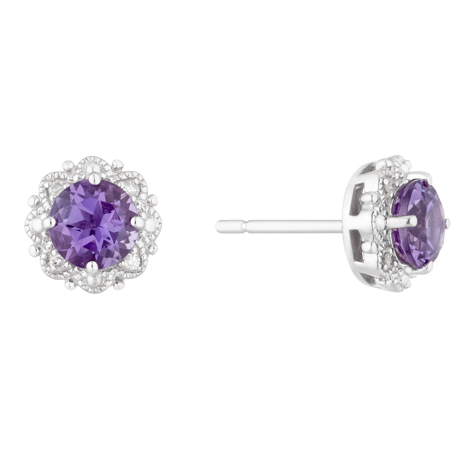 Sterling Silver Amethyst & Diamond Stud Earrings - Product number 5032652