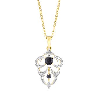 9ct Yellow Gold Black Sapphire & 0.11Ct Diamond Pendant - Product number 5032717