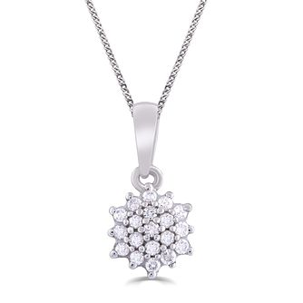 9ct White Gold and 1/10ct Diamond Flower-shaped Pendant - Product number 5032865