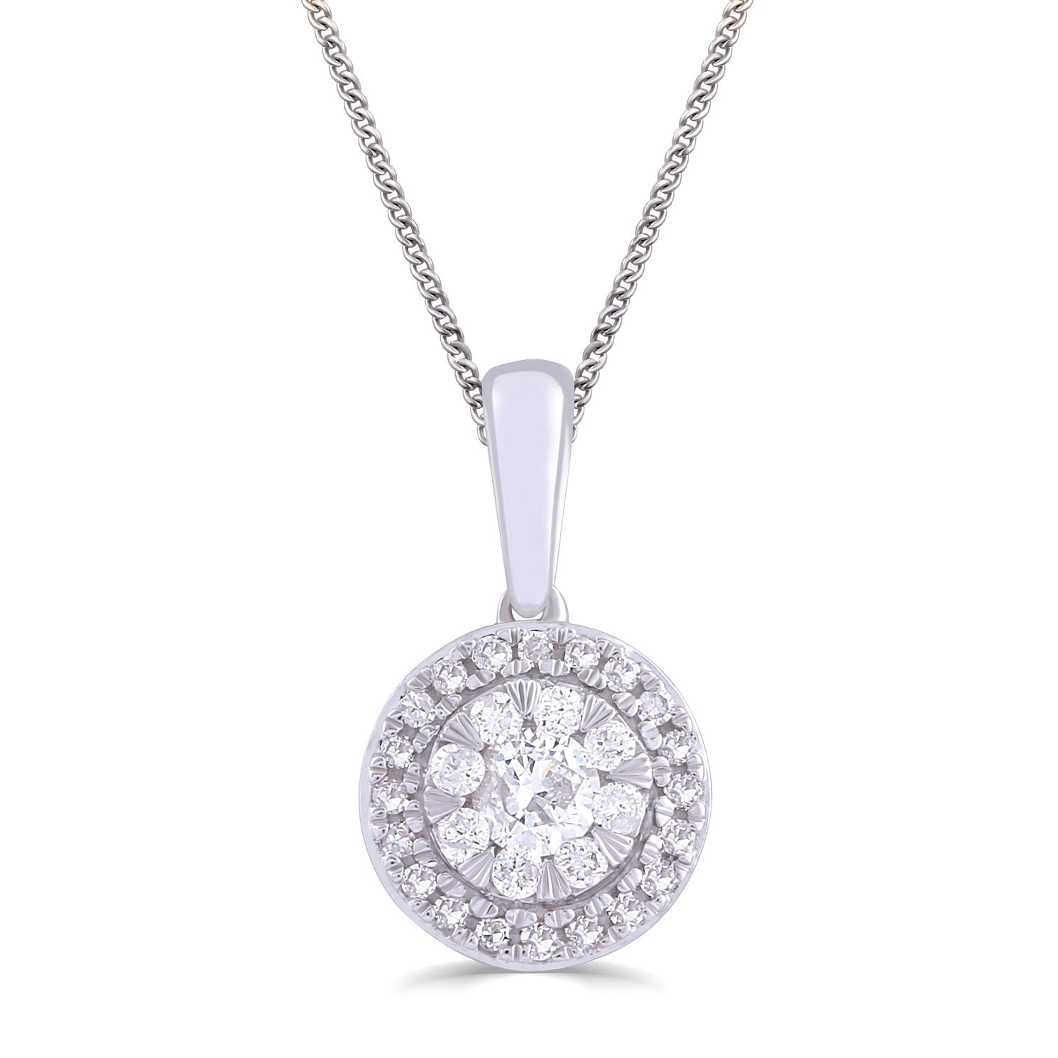 9ct White Gold & 1/5ct Round Diamond Pendant - Product number 5032989