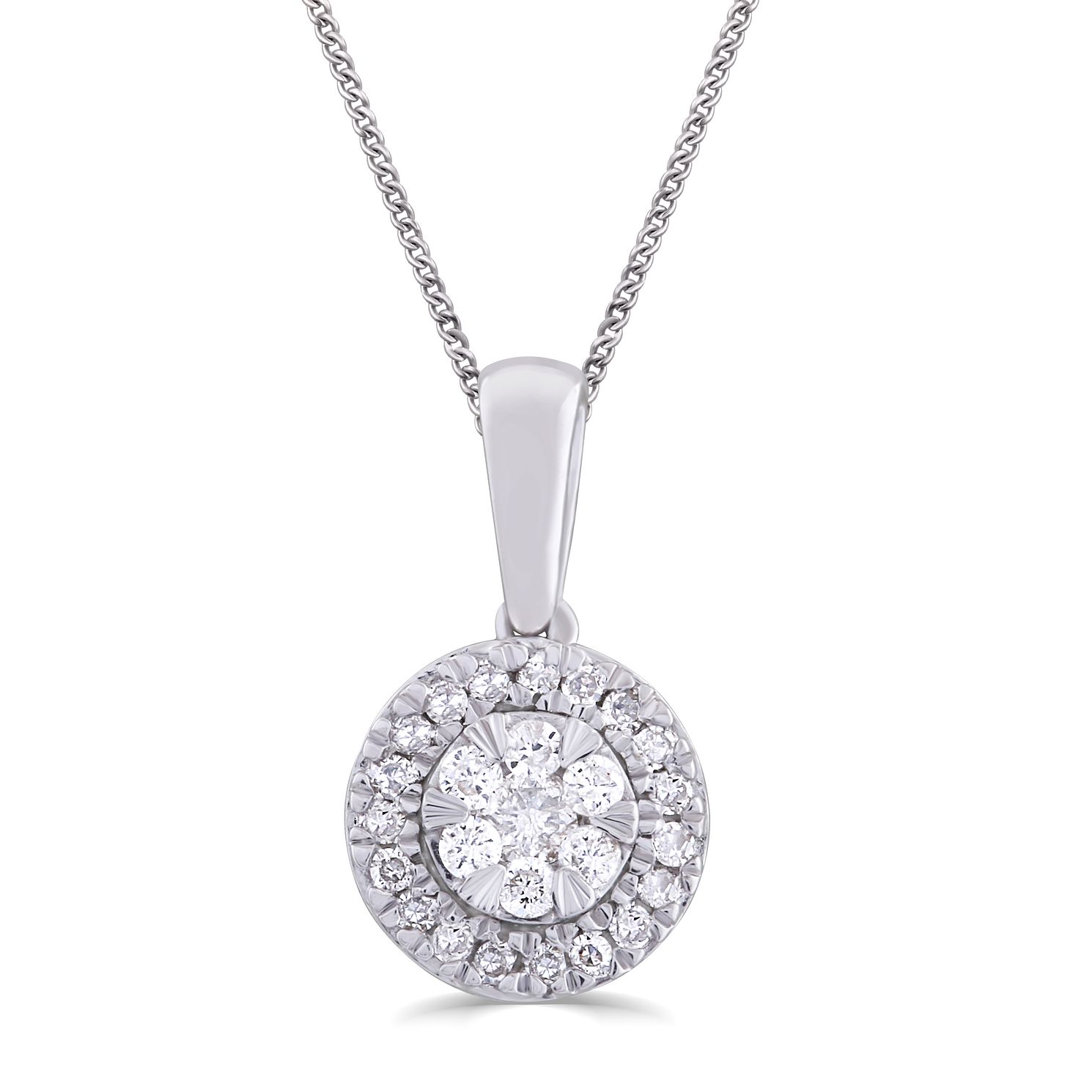 9ct White Gold & 0.10ct Total Diamond Pendant - Product number 5033004